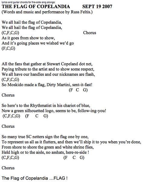"20 September 2007 - ""The Flag of Copelandia Anthem"""